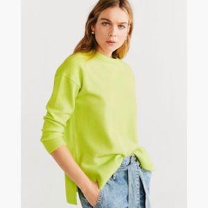 J Crew Crew Neck Citrus Lime Green Knit Sweater
